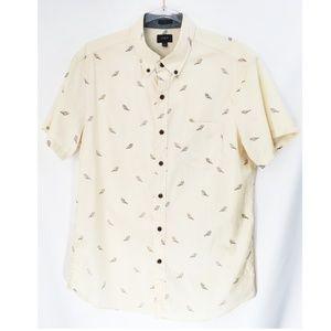 Men's J.Crew Bird Print Short Sleeve Button Down S